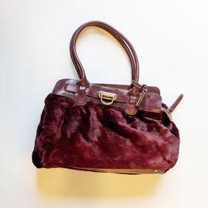 Maroon Burgundy Fur Handbag satchel purse tote